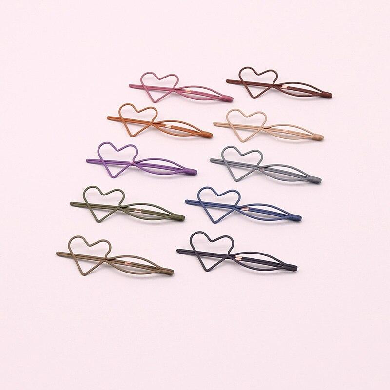 2 stück EUHRA Mode Metall Liebe Form Haar Clip Barrettes Farbe Haarnadel Haarspange Farbe Feder Haar Krallen Haar Styling Werkzeug