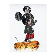 Tam elmas boyama çapraz dikiş Rhinestones mozaik karikatür Mickey elmas kristal dekoratif boyama DIY yuvarlak nakış