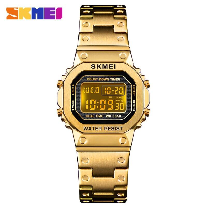 Reloj Digital a la moda para mujer, relojes electrónicos luminosos de lujo, cronómetro impermeable, cuenta regresiva, pulsera deportiva, reloj de pulsera para mujer