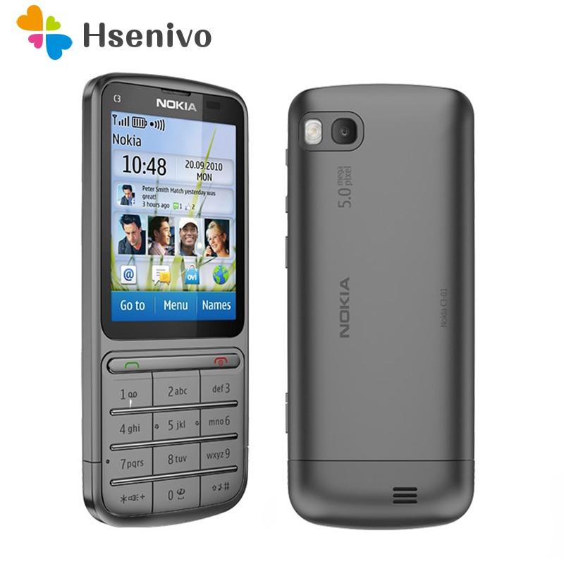 Перейти на Алиэкспресс и купить Nokia C3-01 отремонтированы оригинальный C3-01 телефон 2,4 дюймов 5MP Камера 1050 мА/ч, WI-FI Bluetooth с одинарным сердечником для мобильных телефонов Бесплат...