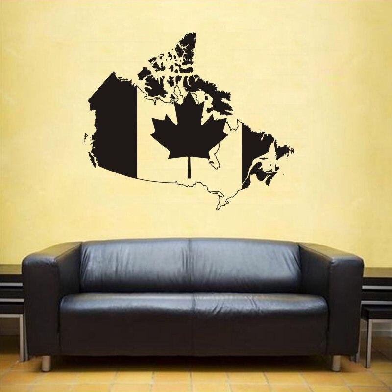 Mapa Mundial de Canadá pegatinas de pared gran nuevo diseño cafetería patrón mapa pared calcomanía vinilo póster pegatinas de mapa del mundo