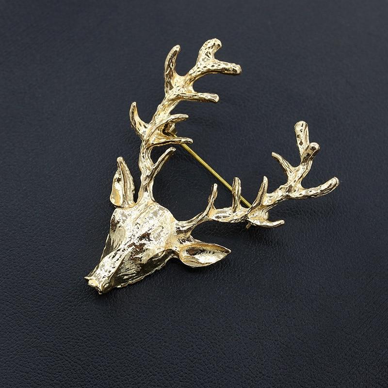 10 unids/lote Color oro alce la cabeza de ciervo broche mujeres hombres broches Pin para Hijab joyería para solapas accesorios de regalo de Navidad