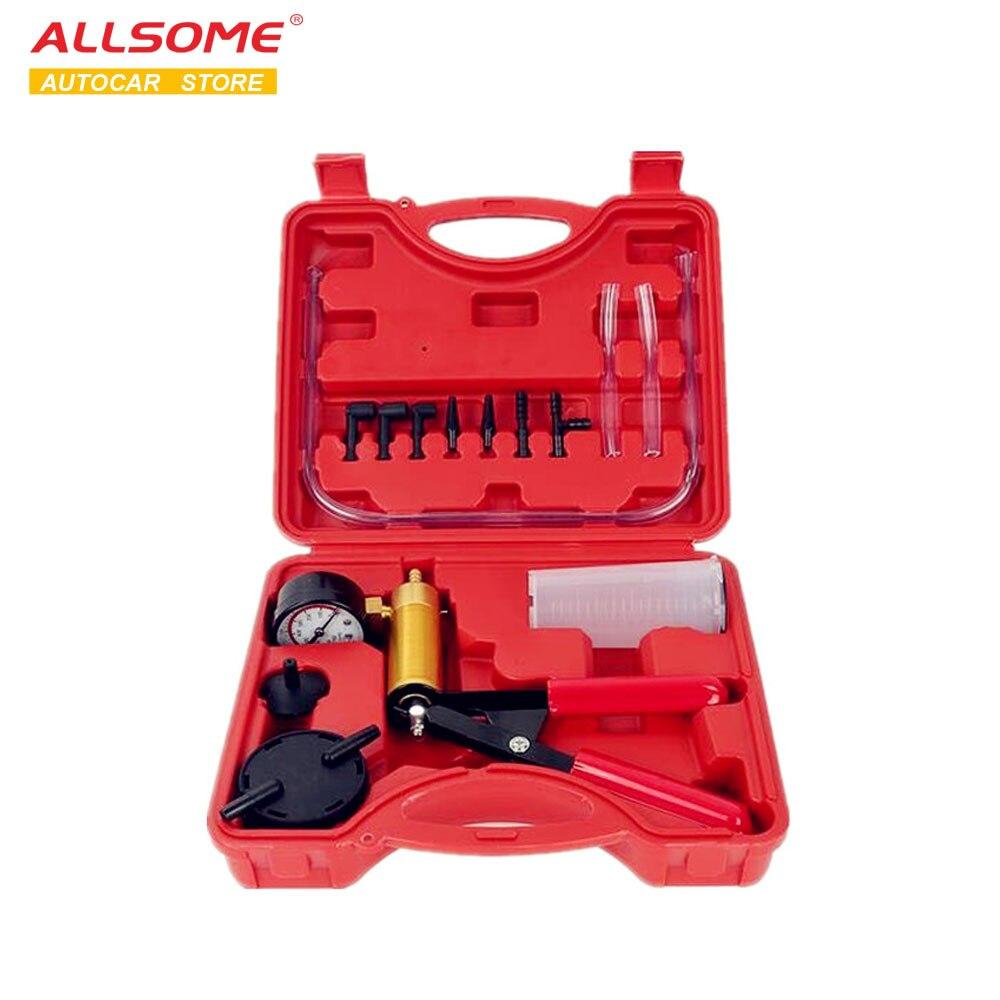 ALLSOME Hand DIY Brems Flüssigkeit Bleeder Verwenden Werkzeuge Vakuum Pistole Pumpe Tester Kit Aluminium Pumpe Körper Druck Vakuum Gauge HT1190