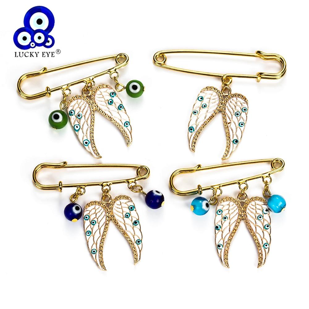 Lucky Eye Angel Wings Charms Brooch & Pin Evil Eye Brooch For Women Men Jewelry Colorful Buckle Clips EY5225