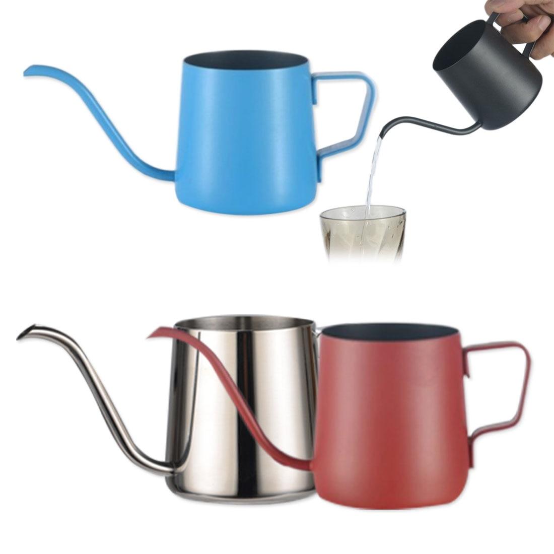 1pc soporte de montaje de acero inoxidable mano golpe olla café macetas con tapa de goteo de cuello de pico boca larga tetera café tetera
