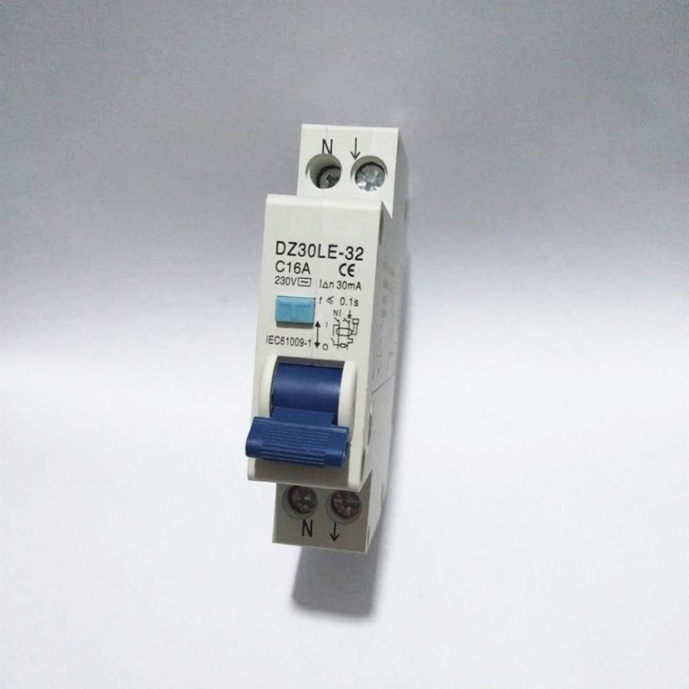Nuevo Disyuntor de corriente residual 1P + N 16A RCBO 6KA protección contra fugas de corriente 18mm compacto RCD DZ47LE-T1