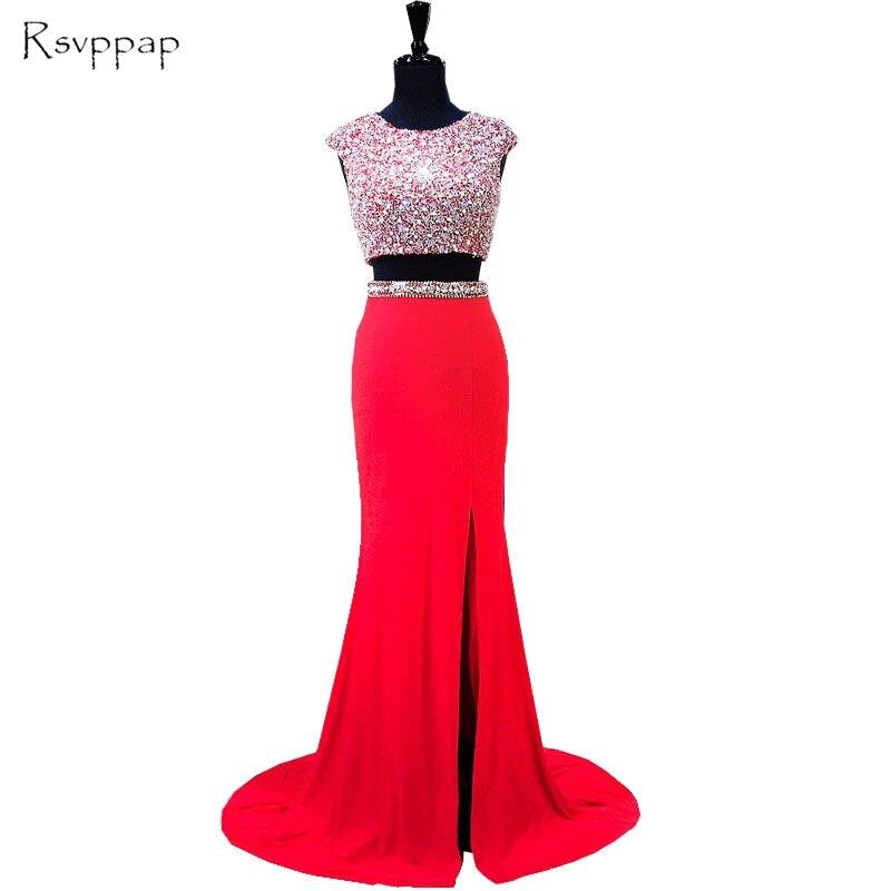 Vestidos de graduación de dos piezas 2020 brillantes cuentas de cristal Top espalda descubierta Africana Sexy abertura larga satén rojo sirena vestido de Graduación
