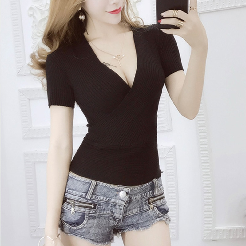 2020 Sommer Mode Weiß T-shirts Frauen V-ausschnitt Gestrickte T Shirt Femme Kurzarm Tops Schlank Sexy Schwarz T-shirt Camisetas Mujer