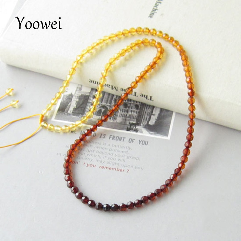 Yoowei Faceted Amber Necklace Jewelry Wholesale Genuine Baltic Natural Amber Beads Adjustable Chain Necklace diy Women Jewellery
