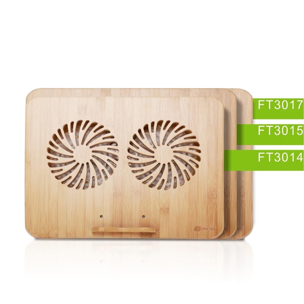 14 15,6 17 дюймов ноутбук бамбуковый деревянный кулер основание радиатора кронштейн с двойной вентилятор охлаждающая подставка для Macbook Air Pro Dell...
