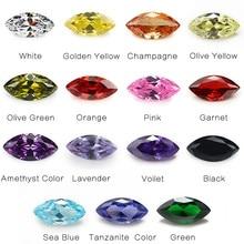 1PCS Per Colors Total 15pcs Size 4x8mm~6x12mm Marquise Shape Loose Cubic Zirconia Stone