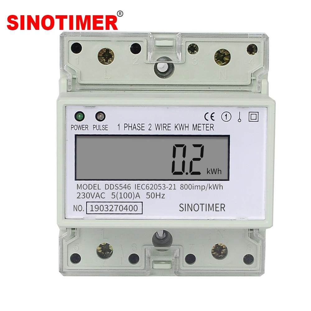 Familia monofásico 2 cables Digital medidor de energía eléctrica medidor de energía Monitor de consumo de energía Din Rail 5 (100) ca de 230 V