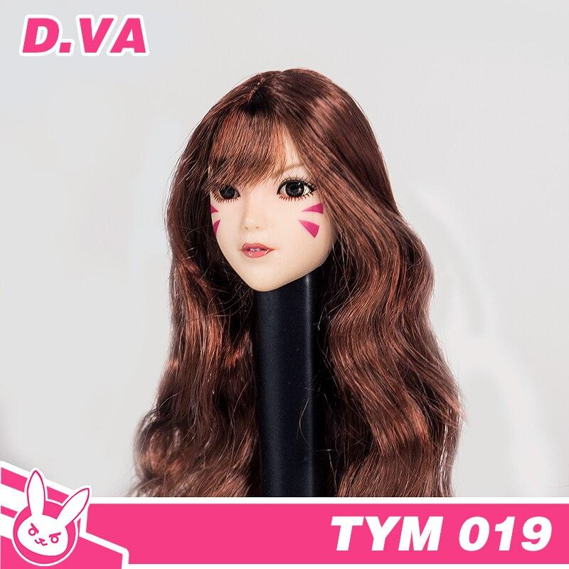 Colección 1/6 escala OW cabeza de animación esculpir DVA soldado femenino Headsculpt modelo juguetes para 12 pulgadas figura de acción