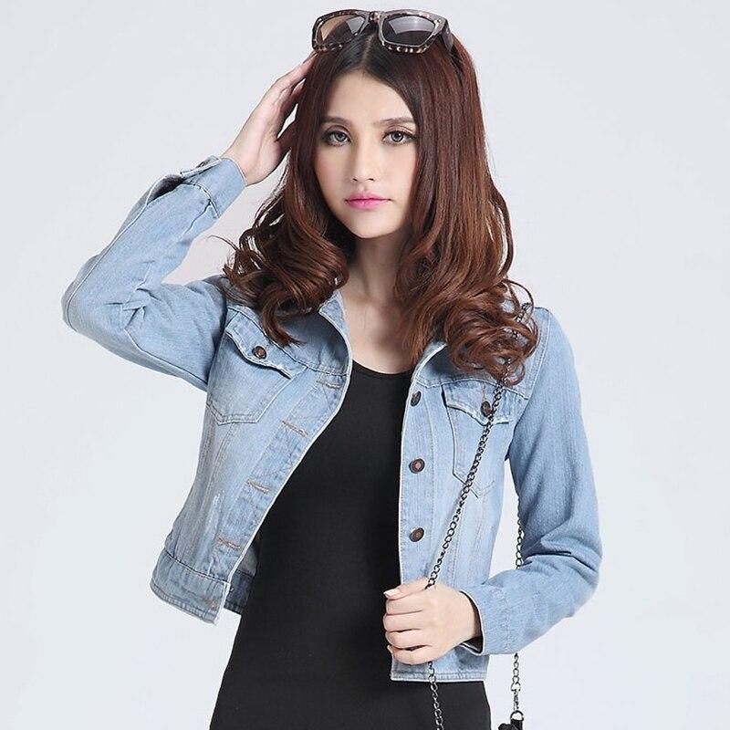 Chaqueta abrigada para mujer 2020 de moda de otoño Jeans chaquetas abrigos mujeres Slim de algodón sólido chaqueta para las mujeres prendas de vestir exteriores abrigos