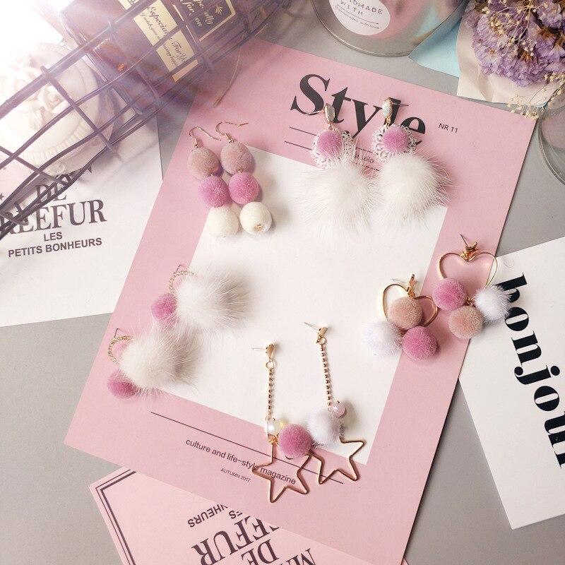 Coreia hairball princesa estilo bonito contraste cor outono inverno gota brincos moda jóias acessórios para Woman-JQD5