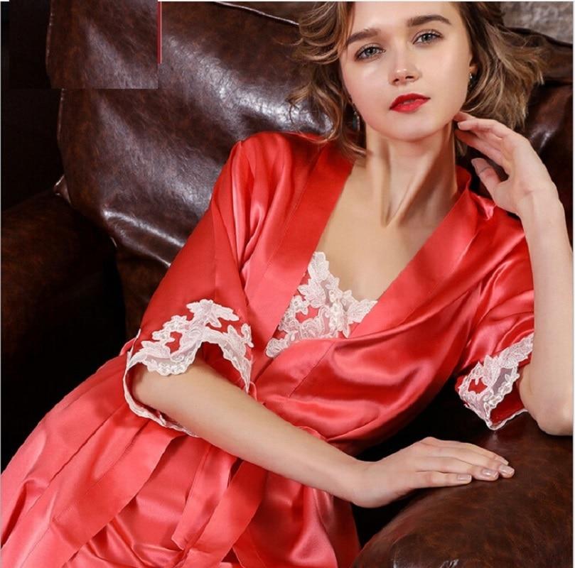Summer 2019 Silk Sleep Robe Gown Sets Red Female  Two Piece Set Bath Robe Sets Sexy Lace 100% Silk Stain  Nightwear Homewear