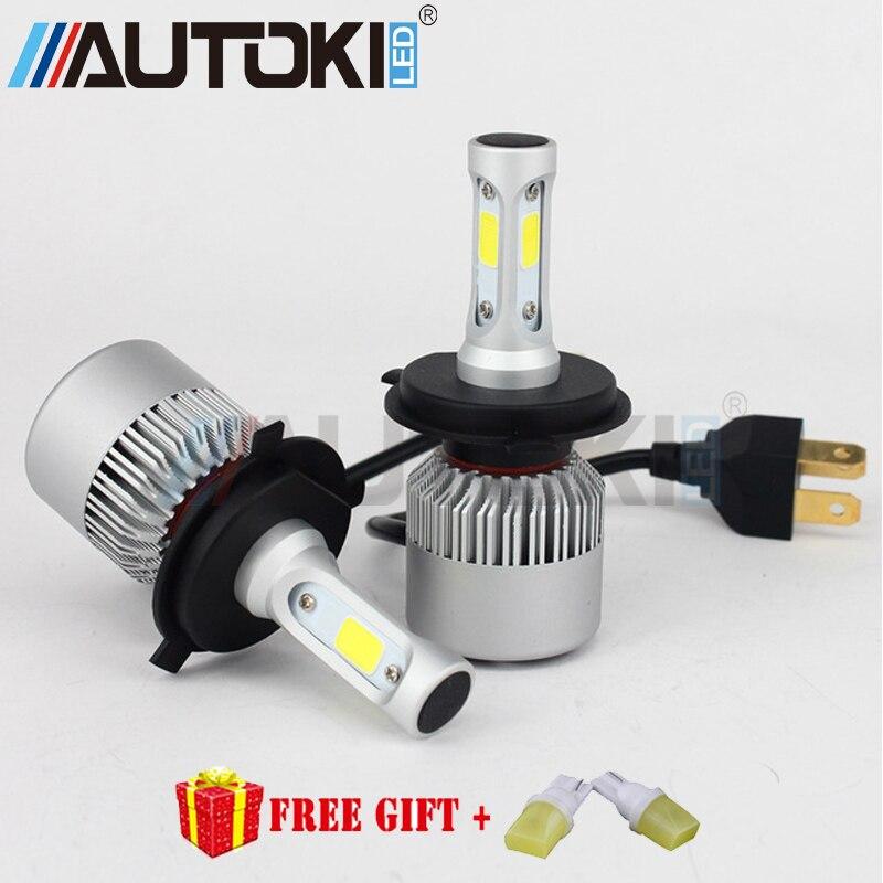 2pcsS2 H1 Lâmpada LED Super Bright Car Auto Farol 2X36 W 8000LM 6500 K 12 V 24 V Único Feixe Tudo Em Um Chip de COB Lâmpada de Automóveis
