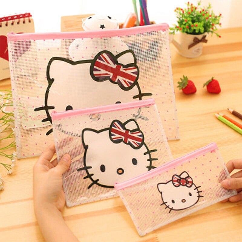 2 шт./лот мультяшная Милая кошка из ПВХ сумка для файлов прозрачная сумка для файлов сумка для ручек информация зажим для бумаги A4 сумка для ф...