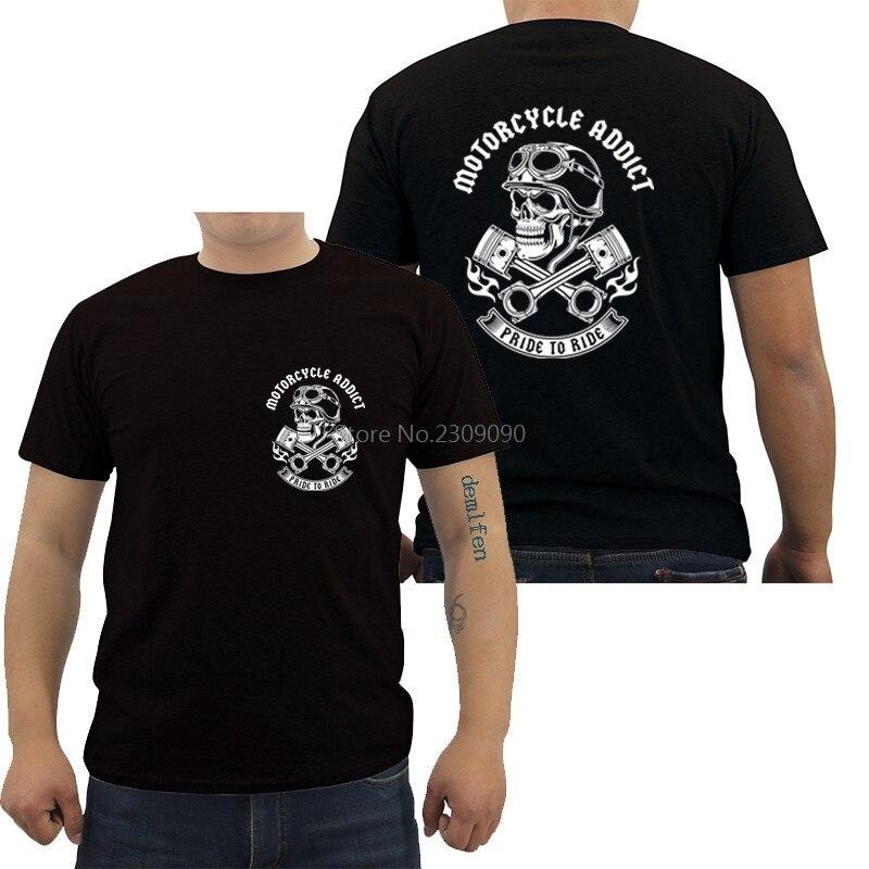 Fashion Short Sleeve Cotton T-shirt Motorcycle Addict Piston Skull T Shirt Men's Hip Hop Shirt Cool Tees Harajuku Streetwear