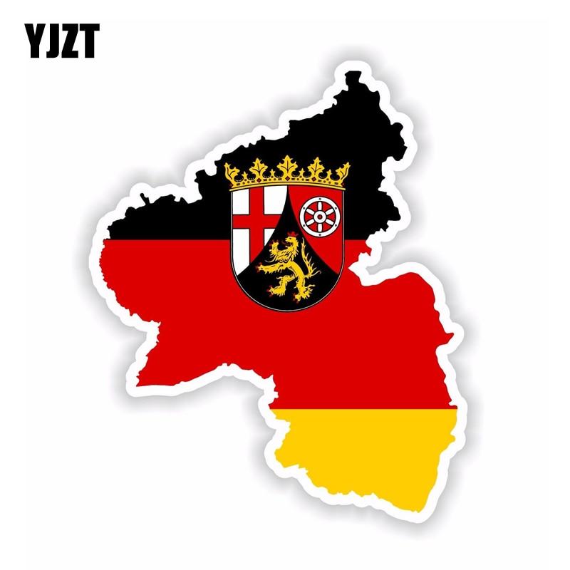 YJZT 12.6CM*15.5CM Rhineland-Palatinate Map Flag Decal Car Accessories Car Sticker 6-1613