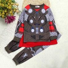 Children Clothing Sets Girl Cotton Cartoon Hulk Superhero Iron Man Costume Pajamas Sets Baby Boys Captain America Kids Sleepwear