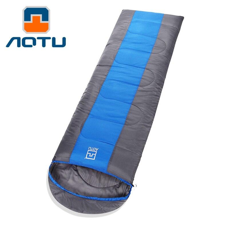 Bolsa de dormir gruesa para exteriores Aotu, se puede empalmar, bolsa de almuerzo para adultos para primavera y otoño, equipo de Camping superelástico AT6106