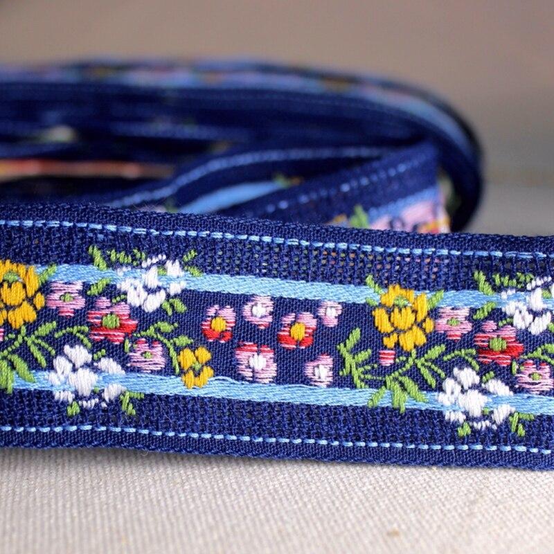 3 yardas 3,5 cm Noble bordado flor azul cincha para mujeres Collar ropa diadema DIY artesanía adornos tela de encaje
