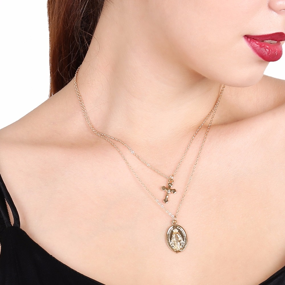 Ingesight. Z винтажный крест Распятие Кулон богини Многоуровневая длинная цепь колье ожерелье католическая христианская Дева Мэри воротник