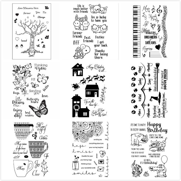 ZFPARTY, sello de silicona transparente de Navidad, Halloween, árbol, mariposa, flor para manualidades, álbumes de recortes, tarjetas decorativas