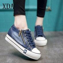 XDA 2019 Classic Vrouwen Mode Casual schoenen Vintage Gewassen Denim Canvas Flat Platform Lace-up rits Gymschoenen board Schoenen d227