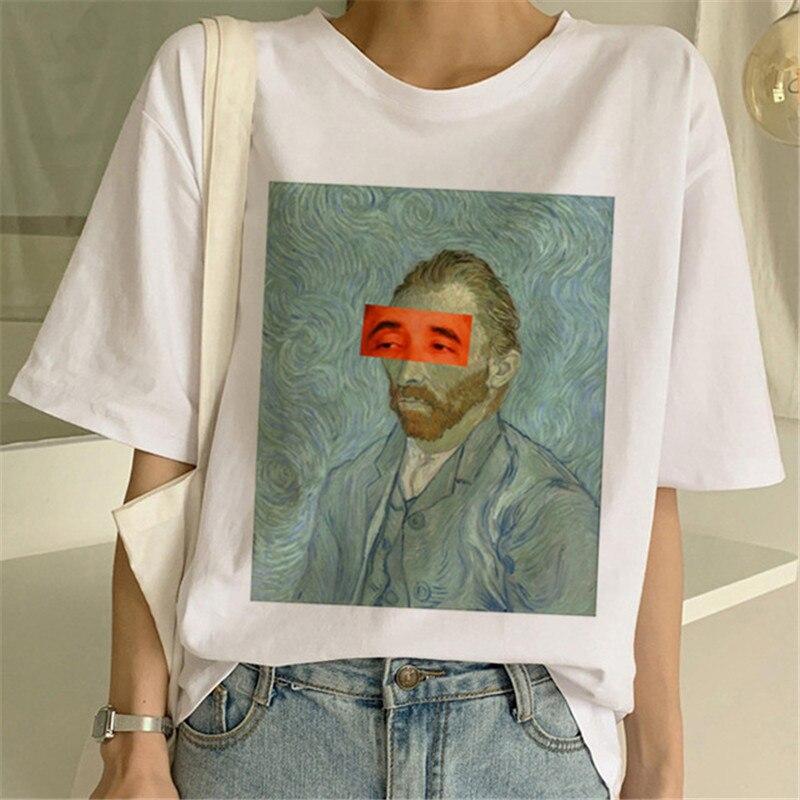 Van Gogh Oil Art Print t-shirt female top women Casual new streetwear tshirt Harajuku graphic tee shirts 2019