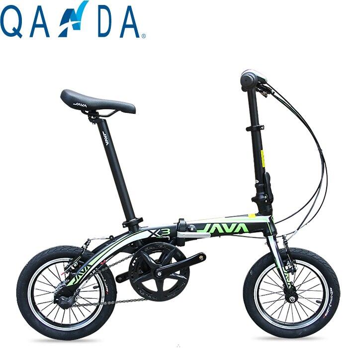 La nueva bicicleta plegable de aleación de aluminio de 14 pulgadas, bicicleta de freno doble ultraliviana JAVA X3