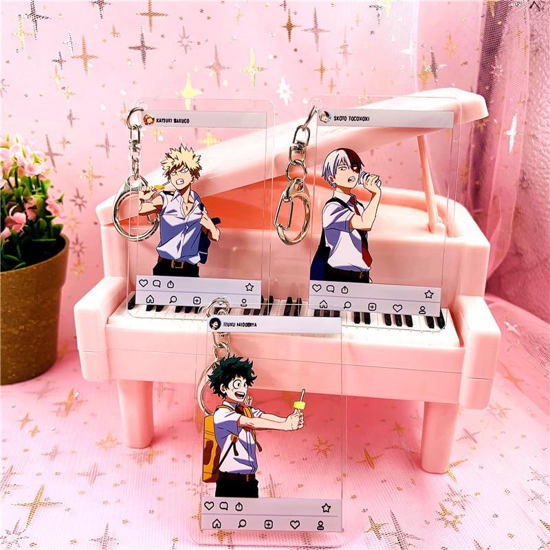 Anime Buku Keine Hero Wissenschaft Keychain Japanischen Cartoon My Hero Wissenschaft Abbildung Auto Schlüssel Ketten Halter Tasche Anhänger Freund Schlüsselring