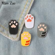 Cat Kitten Paws Enamel pins Cute Cartoon Orange White Black Grey Brooches Pins DIY Badge Gift Jewelry for Girl Kids Cat Fans