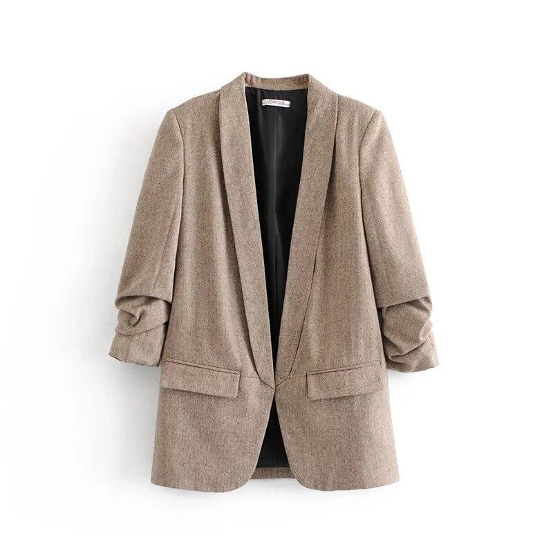 Осенне-зимний Повседневный блейзер цвета хаки, женская модная куртка с рукавом в елочку, новинка 2018, женские офисные блейзеры с v-образным вырезом mujer