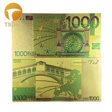 Gekleurde Euro Bankbiljetten 1000 Eur Goud Bankbiljetten In 24K Vergulde Voor Souvenirs