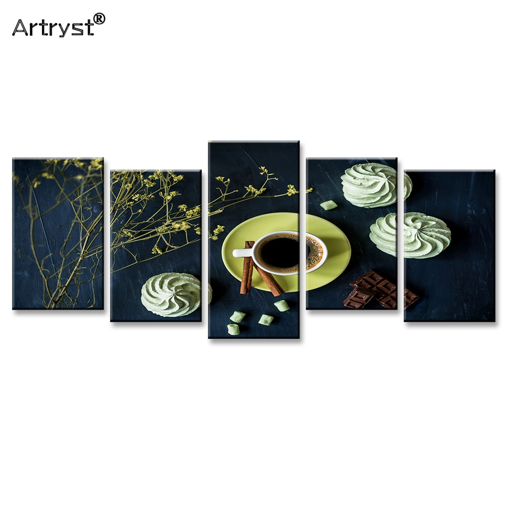 Cartel de comida de café, Chocolate y crema moderno Artryst HD impreso en lienzo 5 piezas cuadro de arte de pared Modular para restaurante jcyg-333