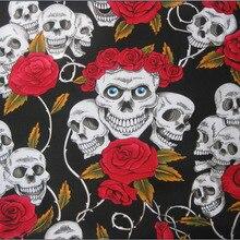 145x0.5yard tissu tissu coton crâne 1 pièce   Toile tissu imprimé de tête de mort Rose Patchwork matériel de couture, sac de bricolage, canapé pantalon pour la maison