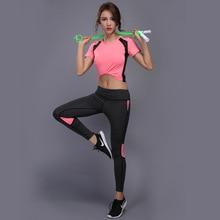 GXQIL Fitness Sport Suit Women Tracksuit Sportswear Woman Running Jogging Set Sport T-shirt Legging Tops Gym Yoga Clothes 2018 S