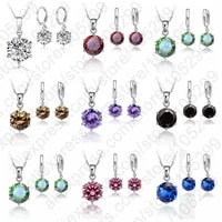 new accessories woman gift 8mm cubic zircon crystal 925 sterling silver lever back earrings pendant necklace jewelry sets