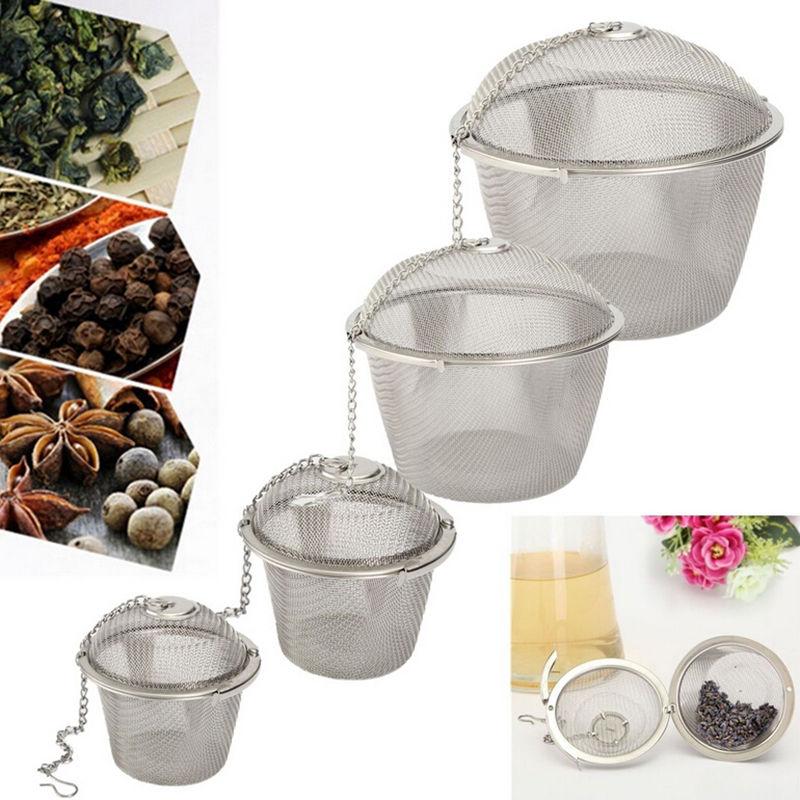 Quente durável prata reusável aço inoxidável malha erval bola chá spice coador chá chaleira de bloqueio filtro chá infuser spice 4 tamanhos
