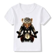 2018 Children Fox Biker Print Funny T-shirt Boys and Girls Summer Retro Skull Head Casual T shirt Kids Tops Baby Clothes,HKP2065