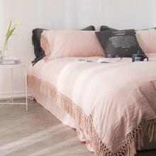100% ensemble de literie en coton double reine King size ensemble de lit avec des glands housse de couette lit/drap housse parrure de lit ropa de cama