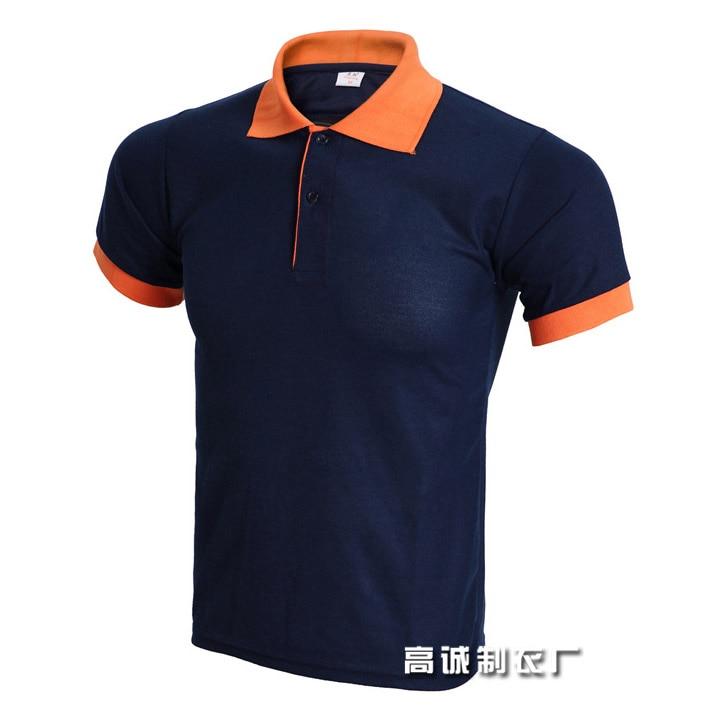 2019 top Männer Polo Shirt herren Business Casual solide Sommer Stil Polos Kurzarm Feste Bluse Navy Orange plus Größe 3XL