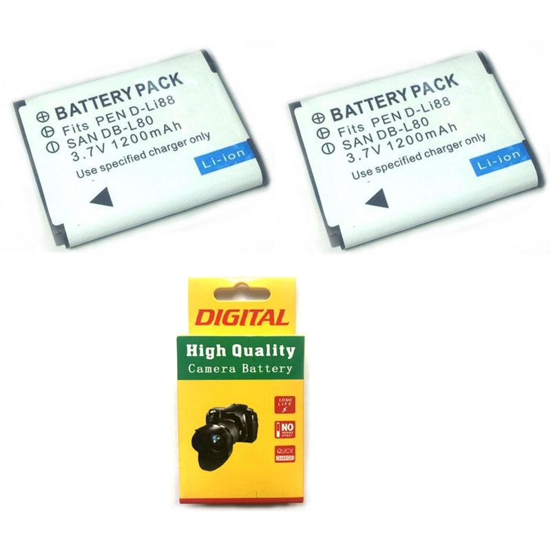 2 piezas 3,7 V 1200 mAh D-Li88 DB-L80 L80A DBL80 DLi88 de batería de la cámara para Sanyo VPC-CG10 VPC-CG20 para PENTAX VPC-CG88 CG100 P70