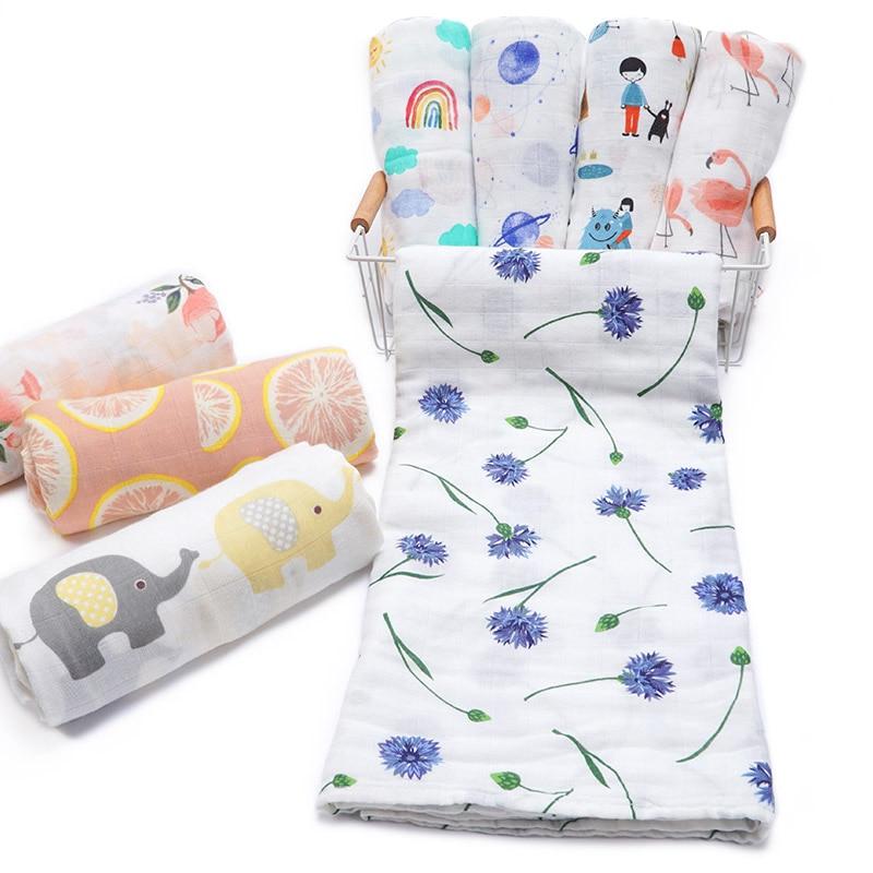 Muslinlife 2019 Trending Products Kids Baby Swaddling Blanket Infant Bamboo Cotton Muslin Blanket Wrap Newborn Stroller Cover