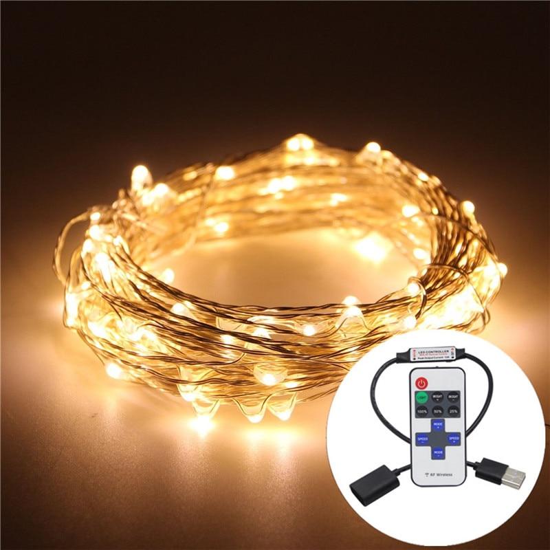 5M USB 5V 33FT alambre de cobre LED cuerda luces de Navidad RGB LED Luz de vacaciones con controlador RF para decoración de Navidad RV