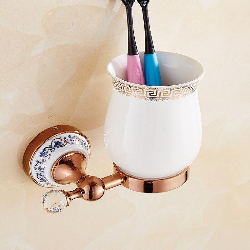 AUSWIND soporte de cepillo de dientes antiguo de oro rosa bronce pulido con taladro Base de cerámica estante para tazas montaje en la pared accesorio de baño