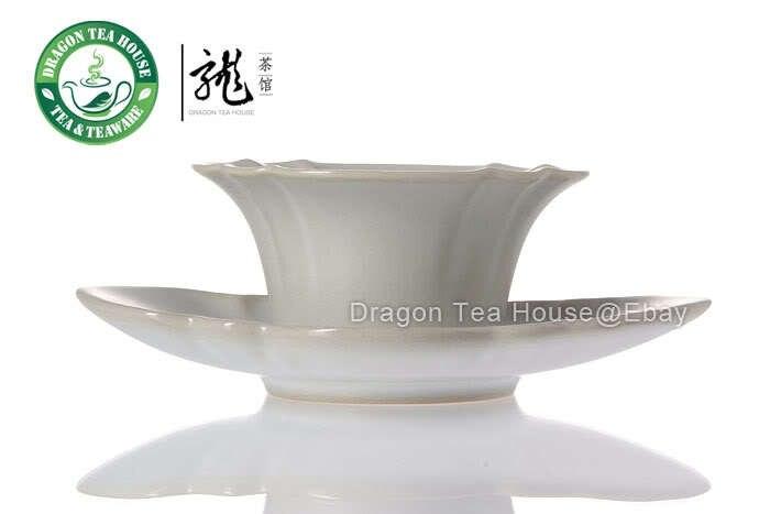 Folha de lótus * Branco Ru Kiln Celadon Teacup & Saucer 50 ml