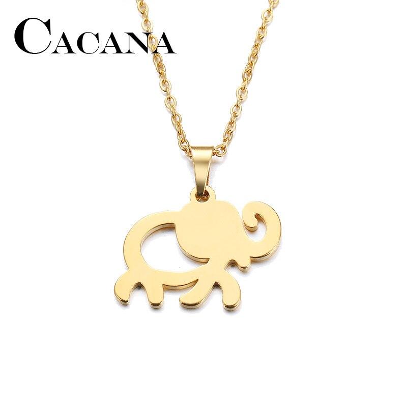 Collar de acero inoxidable CACANA para mujer, collar con colgante de elefante africano, Color dorado y plateado, joyería de compromiso